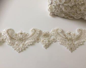 8 cm wide off-white guipure lace