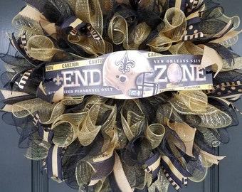 New Orleans Saints Deco Mesh Wreath. Black and Gold