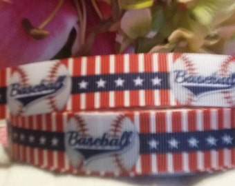 3 yards 7/8 grosgrain ribbon baseball design