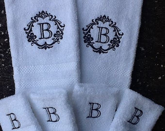 Damask Monogram towels and wash cloths