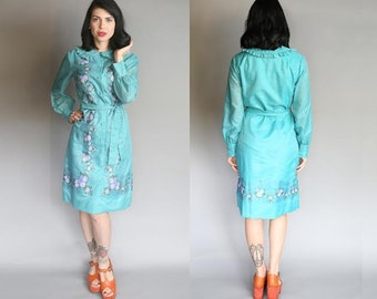 Vintage 60's Alfred Shaheen Hand-Painted Raw Silk Dress | M