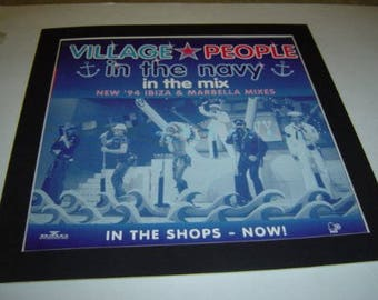 Village People In The Navy  Poster in A Custom Made Mount Ready To Frame