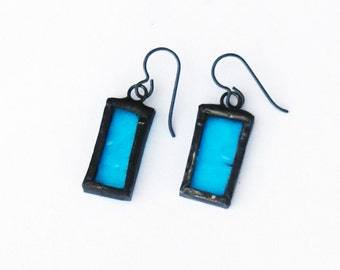 Blue Earrings, Stained Glass Earrings