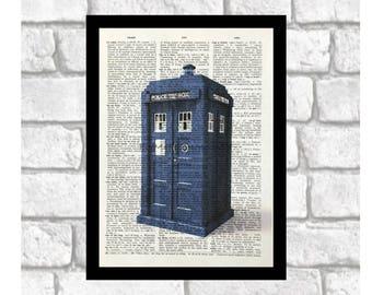 Dr Who ~ Tardis Police Box ~ Tardis Color Print Art on 8x10 upcycled dictionary page
