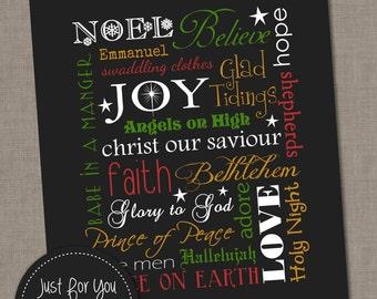 Christmas Word Art Typography Subway Wall Art - 8x10 - YOU PRINT - Printables, Sign, Print, Christ, Baby Jesus, Christmas Carols, Religious