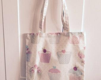 Cupcake design  oilcloth tote bag