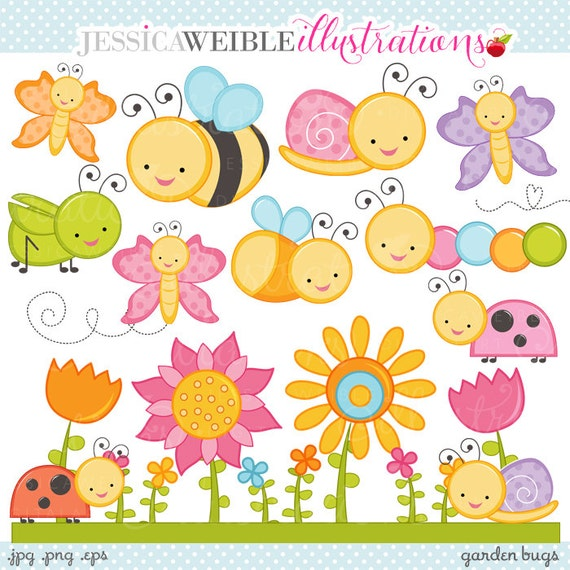 garden bugs cute digital clipart commercial use ok cute bugs rh etsystudio com cute bug clipart black and white Cute Spider Clip Art