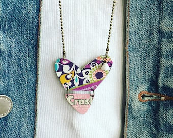 """Tin Jewelry Heart Necklace """"Crush"""" Tin for the Ten Year Tenth Wedding Anniversary"""