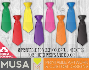 Instant Download / Printable Ties / Party Favors / Photo booth props / Digital elements