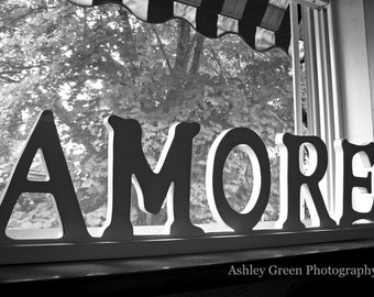 That's Amore Sign Photograph / Black and White Photography / Travel Photography / Home Decor / Wall Art / Valentine's Day