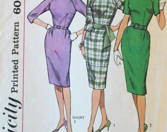 1960s Vintage Wiggle Dress Sewing Pattern - Simplicity 4051 - Bust 36