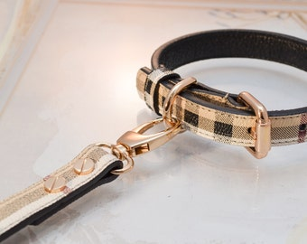 Berry Leather Dog Collar and Leash Set vurberry Plaid Designer For All Dogs