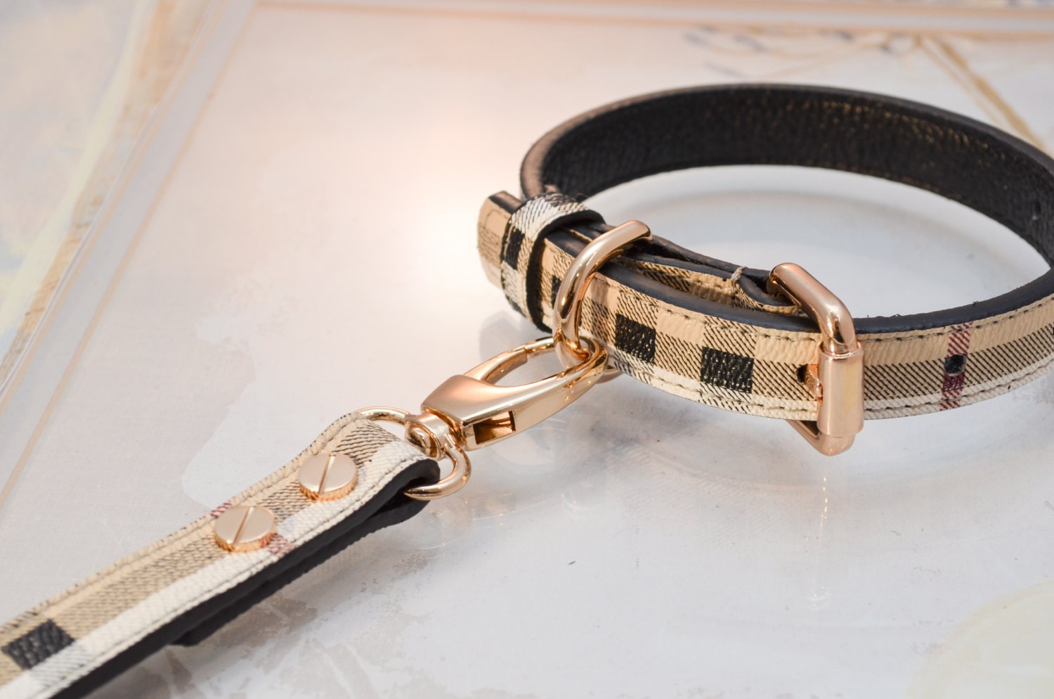 Berry Leather Dog Collar and Leash Set vurberry Plaid Designer