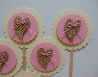 Burlap Heart Cupcake Toppers - Pink and Ivory - Girl Baby Shower Decorations - Girl Birthday Party Decorations - Set of 6