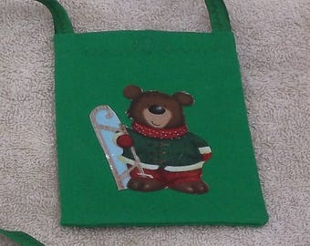 Cellphone pouch with sledding bear