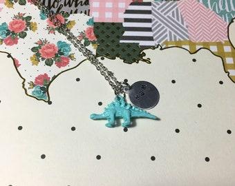 Dino MOM Handstamped Dinosaur Necklace