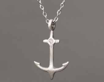 Anchor Necklace in Sterling Silver with Diamond