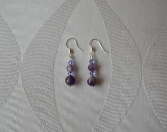 Earrings natural stone and swarovski crystal bicones
