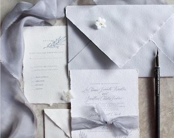 Updated Semi-Custom Handwritten Calligraphy Olive Branch Wedding Invitation