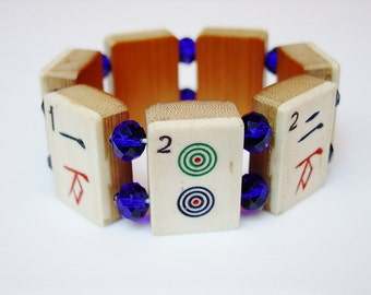 Mah Jong Bracelet / Bone / Bamboo / Dovetailed / Hand-carved / Cobalt / Asian / Jewish / Chinese / Jewelry / Gift / Judaica / Handmade / FUN
