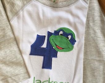 Teenage Mutant Ninja Turtles Birthday Shirt TMNT Birthday Shirt Any Color Turtle Applique Birthday Shirt