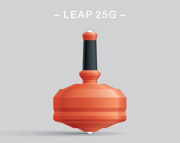 Leap 25G Orange – Spin top with dual ceramic tip and rubber grip