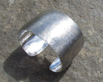 Sterling Silver Textured Cuff Bracelet, 1 1/2 Inches Wide