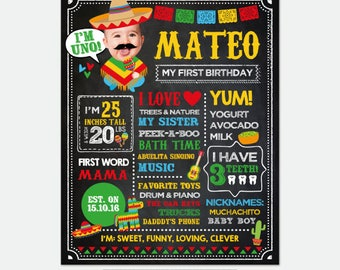 Fiesta First Birthday Chalkboard Sign with Photo, Fiesta 1st Birthday, Mexican Birthday Party, Cinco de Mayo, Personalized Digital Board