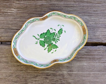 Herend Porcelain Tray Green Chinese Bouquet Trinket Dish Pin Dish