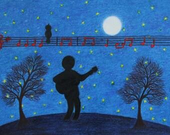 Music Gift, Guitar Art Picture, Guitarist Moon Stars Print, Spiritual Art, Guitar Gift, Music Art, Blue Painting, Guitarist Bird Moon Stars