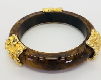 Marbled Mississippi Mud Bakelite Bangle with Faux Gold Accents