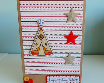 Handmade Teepee Tent Card - For Him, For Her - Birthday,Thank You, Congratulations - Personalised!