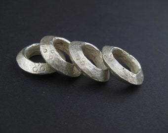 4 Silver Ethiopian Wollo Rings 22mm - African Silver Pendant - Silver Rings - Jewelry Making Supplies - Made in Ethiopia ** (WLO-SLV-107)