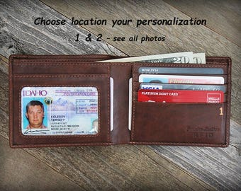 Father of the Bride Gift - Personalized Mens Wallet - Father of the Bride - Custom Mans RFID Wallet - Leather Wallet - RFID - Toffee - 7722