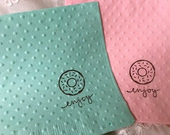 Donut Napkins - Donut Party - Shower Napkins - Paper Napkins - Doughnut Theme - Baking Theme - Wedding Napkins - Bagel Theme - Baby Shower