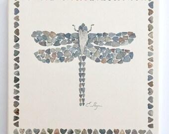 Absorbent stone trivets, dragonfly trivet, wildlife trivet, dragonfly gift, kitchen decor, dragonfly art, dragonfly lover gift, heart rocks
