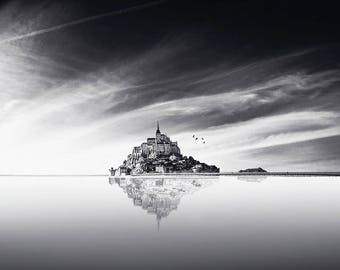 "Black & White Photographic Art Print, Minimalist Fine Art Photography, ""Mont St Michel"", in Normandy, France, Wall Art"
