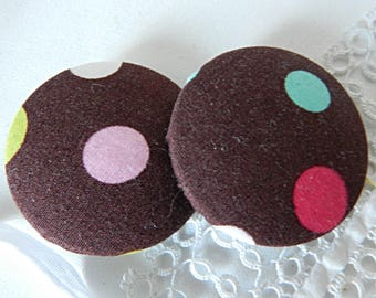 Fabric button Brown with polka dots, 40 mm / 1.57 in