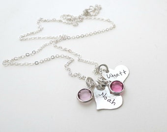 Personalized Heart Necklace with Birthstone - Personalized Jewelry - Mothers Necklace - Kids Name - Grandma Necklace - Sister - Engraved