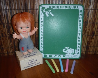 Vintage Child's Chalkboard Box of Chalk - 1950's Small Green Chalkboard - Colored Chalkboard Crayons - Vintage School Supplies Education