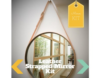 """PREORDER NOBI - CREAM Strapped 24"""" Mirror Adnet Jamie Young Style Captain's Mirror Hanging Gobi Round leather hanging bathroom entry mirror"""