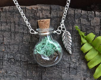 Moss Necklace, Terrarium Jewelry, Terrarium Necklace, Terrarium, Moss Vial, Moss Jewelry, Plant Necklace, Garden Jewelry, Spring Jewelry