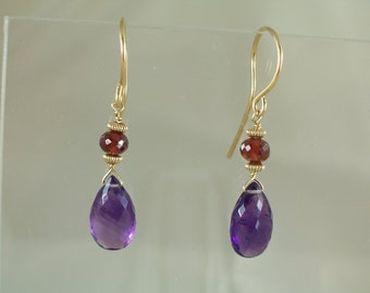 Amethyst briolette garnet 14k gold filled dangle earrings gemstone handmade MLMR item 915