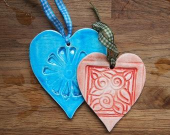 2 Hanging Ceramic Hearts