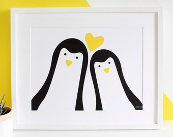 Penguin Couple 'Selfie' Personalised Print / Anniversary Gift / Valentines Day / Wedding Day Gift / Mr and Mrs / Mr and Mr / Mrs and Mrs /A3