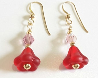 Red Flower Earrings, Pink Crystal Dangle Earrings, Handmade Nature Inspired Jewelry, Gold Bead Jewelry, Mother's Day, Valentine Gift