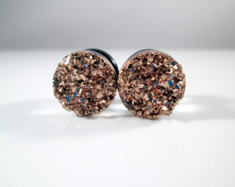 Rose Gold Sparkle Faux Druzy Plugs - Available in 1/2 in, 7/16 in, and 9/16 in