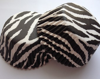 Zebra striped cupcake Liners 50 count tea party animal print black white Baking Cups Lace Muffin Party Tools Supplies Food Craft Paper