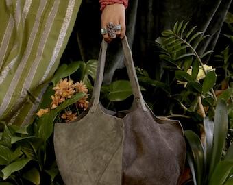 Panelled Slate Grey/Dark Brown Suede Genuine Leather Tote Shoulder Handbag, Rectangular Base, Black Stitching Accents, Silver Rivets