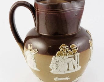 Late 19th Century Doulton Lambeth English Stoneware Harvest Jug/Pitcher